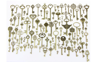 100 Pcs set Antique Bronze Assorted Key Theme Charms Pendants Set for DIY Necklace Jewelry Handmade Making Accessaries #264829