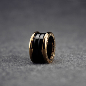 Wholesale Wide Black Ceramics Rings for Women Charms Spiral Ring Fine Wedding Rose Gold Jewelry