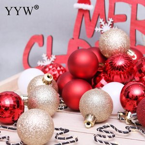 24pcs 4cm Christmas Balls Xmas Tree Ball Bauble Hanging Home Party Tree Ornaments Plastic Balls Portable Christmas Decorations on Sale