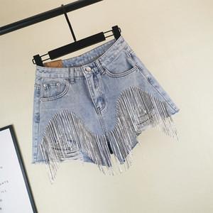 2019 Summer Heavy Rhinestone Fringed Hole Denim Shorts Female High Waist Cowboy Shorts Tassels Wide Leg