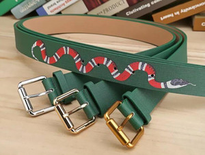 Wholesale 2017 fashion design pin buckle Snake animal pattern Belts High Quality Designer Luxury Belt For Men And Women Genuine Leather Belt for gift