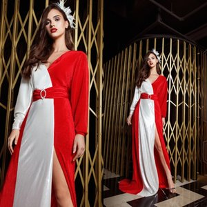 Wholesale Ashi Studio Evening Dresses V Neck Side Split Long Sleeves Plus Size A Line Prom Gowns Red And White Splice Special Occasion Dress