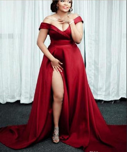 Wholesale Dark Red Plus Size Sexy Evening Dresses 2019 New High Split Black Girls Pageant Gowns Off-the-shoulder Formal Party Dress Evening Wear