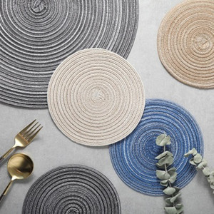 Wholesale dinning table round for sale - Group buy Round Design Table Placemats Insulated Pad Solid Placement Ramie Non slip Table Mat Dinning Table Decoration Accessories Home Pad Couster
