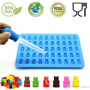 Wholesale 50 Cavity Silicone Gummy Bear Chocolate Mold Candy Maker Ice Tray Jelly Moulds Creative silicone ice cube bear ice cube mold