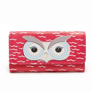 Wholesale Europe and the United States foreign trade explosion models ladies owl long paragraph PU leather tri fold magnetic buckle wallet female clut
