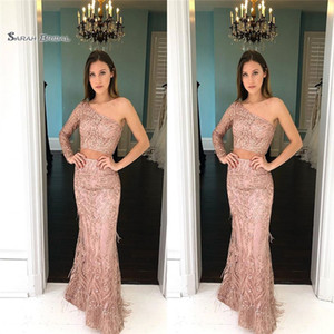 2019 Sexy One Shoulder Two-piece Mermaid Beads Long Sleeve High End Quality Evening Party Dress Hot Sales on Sale