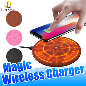 Wholesale Magic Array Wireless Charger W Qi Wireless Light Up Universal Fast Charging Pad for iPhone Samsung Smart Phones Circle Charging Pads