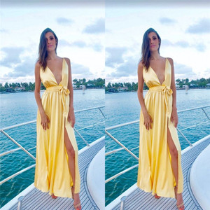 Wholesale Long V-neck Sleeveless Aline Prom Dresses Split with Sash Special Occasion Dresses Party Dresses Custom Made