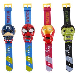 Wholesale 4 Style The Avengers Spider Man Captain America Plastic Watch For Kids Holiday Best Gift x20 cm
