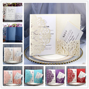 Wholesale Glittery Wedding Invitation Cards Kits Spring Flower Laser Cut Pocket Bridal Invitation Card For Engagement Graduate Birthday Party Invites