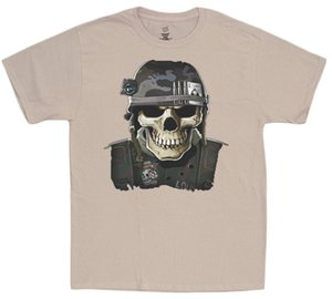 Wholesale Military skull t shirt army marines usmc decal tee shirt for men tactical helmet Men Women Unisex Fashion tshirt