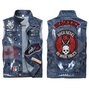Wholesale Hand embroidery New Casual Men s Denim Vest Male Slim Fit Sleeveless Jackets Men Jeans Waistcoat Hole Washed Cowboy Beggar Brand Clothing