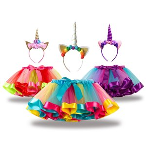 Girls Skirts Children Clothing 2019 Summer Rainbow Tutu Skirts + Unicorn Hairband Sets Designer Kids Clothes for Girls Party Dress