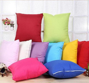 Home 45 * 45CM Home Sofa Throw Pillowcase Pure Color Polyester White Pillow Cover Cushion Cover Decor Pillow Case Blank christmas Decor Gift