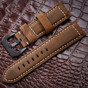 Wholesale Watchbands mm Genuine Leather Dark Brown Black Man Women Handmade Vintage Scrub Wrist Watch Band Strap Metal Buckle T190620