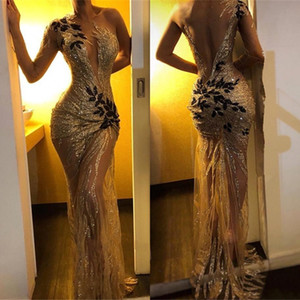 Wholesale Sexy Sequin Mermaid Prom Dresses Gold Sheer One Shoulder Sleeve Long Sleeve Lace Applique Sweep Train Formal Evening Gowns BC0954