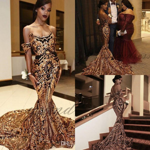Wholesale 2019 New Luxury Gold black Prom Dresses Mermaid off shoulder Sexy African Prom Gowns Vestidos Special Occasion Dresses Evening Wear
