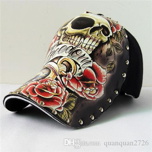 Wholesale Baseball cap illustration skull tattoo pattern rivets spring and summer fashion new personality original hat