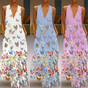 New Fashion Sexy Womens Ladies Sleeveless V-Neck BOHO Butterfly Print Beach Party Maxi Dress Sundress Plus Size
