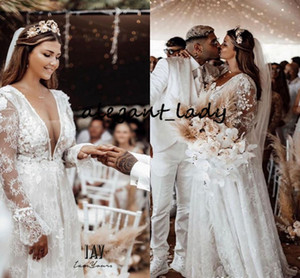Wholesale Berta Long Sleeve Wedding Dresses D Floral Full Lace Plus Size V neck Backless Outdoor Bohemian Garden Country Wedding Gown
