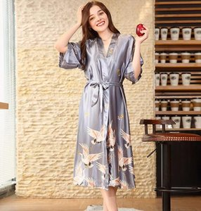 Explosion models simulation silk wedding pajamas women autumn long bridesmaid red bride morning dress home robe m2