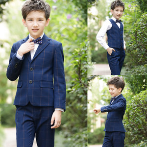 Handsome High Quality Boy's Formal Wear Classic Plaid 3 Pieces Boys Wedding Suits Kids Designer Clothes Boys