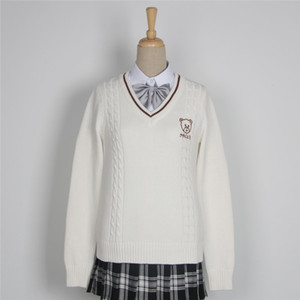 Wholesale Japanese High School Uniform Couples Lovers Pullovers Man Women Long Sleeve Bear Embroidery Sweaters British Style Slim Knitwear C18122701