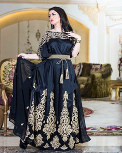 Wholesale Gorgeous Dubai Arabic Black Evening Dresses with Gold Appliques A-Line Bateau bat sleeves Pleated Prom Party Gowns Robes formelles soirée
