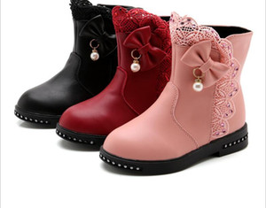 Wholesale Children Snow Boots Girls Lace And Girls Fashion Winter Flush Shoes Princess Cute Autumn Boots Anti skid And Waterproof