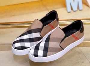 Brand New Womens Retro Plaid Slip On Leather Leisure Dress Sports Shoes Famous Lady lazy falts Loafers Zapatos 35-40