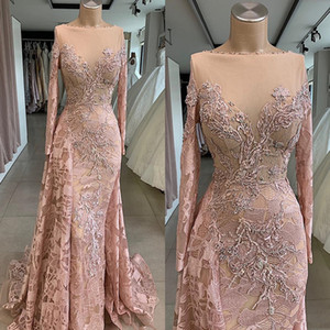 Luxurious Sexy African Dubai Evening Dresses Sheer Neck Blush Lace Beaded Mermaid Vintage Formal Party Bridesmaid Graduation prom Dresses on Sale