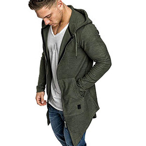 Wholesale Men Splicing Hooded Solid Trench Coat Jacket Cardigan Long Sleeve Outwear Blouse Unisex Casual Open Stitch Long Cloak Cape Coat M XL