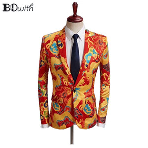 Wholesale 2019 Newest Men Blazer Jacket Pants Auspicious Clouds Printed Casual Notched Collar Men Suit for Party Holiday