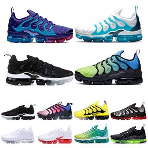 Wholesale 2020 TN Plus Mens Womens Running Shoes Rainbow Bumblebee Lemon Lime Aurora Green Triple Black White women sports sneakers Size