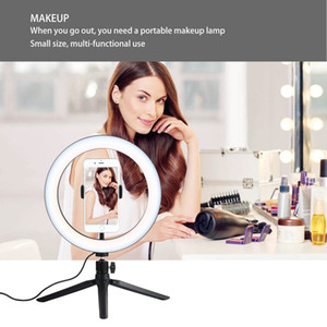Wholesale 10 quot Ring Light LED Desktop Selfie Lamp with Tripod Stand Cell Phone Holder and Remote Control for YouTube Video Makeup USB
