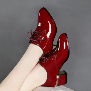 2018 Autumn Genuine Leather Thick High Heel Shoes Winter Inside Plush Women Fashion Patent Leather Pointed Toe Pumps WP1127MX190830