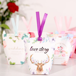 Wholesale 20pcs Hot Sale Candy Box Birthday Baby Shower Gift Boxes Sugar Paper Boxes Party Supplies Wedding Favors Candy Bag With Ribbon
