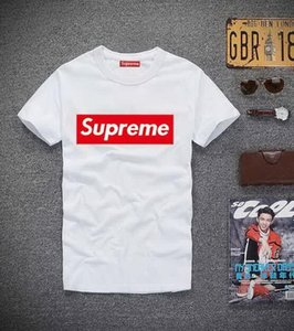 Fashion mens brand suprme tshirt classic box logo designer t shirt high quality men women t-shirt casual wild luxury shirt free shipping
