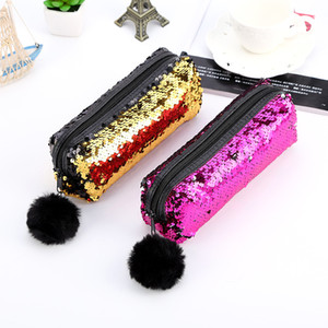 Cosmetic Bag 2019 Girls Boys Pencil Bags Unisex Fashion High Quality Double Color Makeup Pouch Women Men's Sequins Pencil Bags