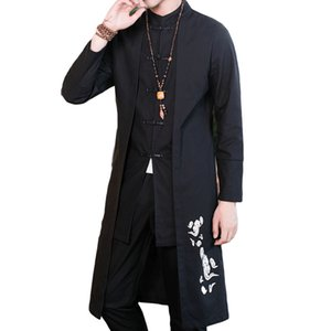 Wholesale Straight Cotton Linen Trench Coat Men Plus Size Mandarin Collar Embroidery Vintage Chinese Style Clothing False Two Piece