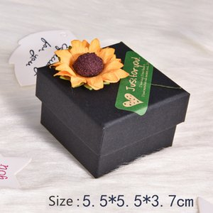 Wholesale Newly jewelry box square shape sunflower decorration craft paper gift box bangle bracelet jewelry box A03