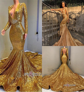 Wholesale gold nude sparkly prom dress for sale - Group buy Sexy Gold Mermaid Prom Evening Dress Sparkly Sequins Long Sleeve V Neck Formal Party Gown Tassels Pageant Gown BC0577