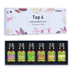 KIUNO Pure Essential Oils 10ML 6Pieces Gift Set Humidifier Aromatherapy Lavender Tea Tree Eucalyptus Peppermint Lemongrass Oil