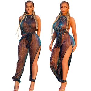 Wholesale Sexy Sheer Black Lace Jumpsuit Bikini Cover up Women Sequin See Through Hollow Out SwimwearRompers Long Pants Party Overalls