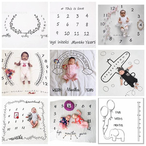Wholesale ins newborn photography background props baby photo prop fabric backdrops easter infant blankets wrap letter soft blanket E