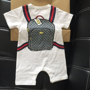 Wholesale 2019 Cute Bags Print Brand Baby Romper Summer Striped Short Sleeve Baby Boy Girl Romper Infant Jumpsuit Kids Cotton baby Clothe Free Shippin