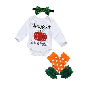 Wholesale Baby Letter Romper Sets Long Sleeve Halloween Onesies Baby Infant Girl Designer Clothing Baby Girl Dot Lace Foot Cover With Sequins Headband