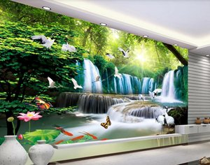 Wholesale living room live waterfall wallpaper resale online - Custom d stereoscopic wallpaper lotus waterfall landscape d wallpapers painting living room background wall