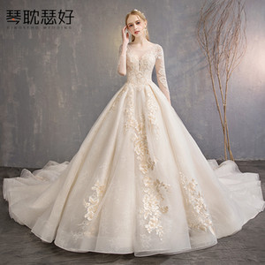 Wholesale New European and American Slim Bride Marriage Yarn Autumn and Winter Hepburn Retro Long Tail Dress Shaking Woman